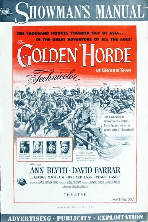 THE GOLDEN HORDE great PRESSBOOK 1951