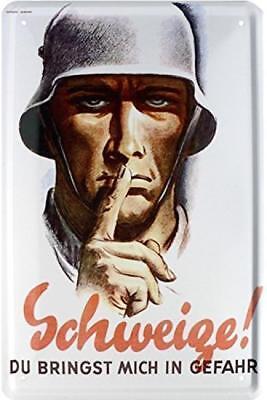 Retro Blechschild 20x30 Soldat Weltkrieg Deutsches Reich Schweige bringst Gefahr
