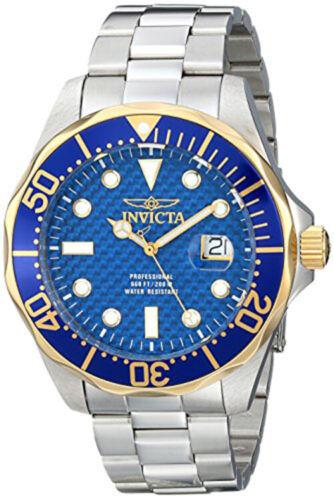 Invicta Men's Pro Diver Gold and Blue Quartz 3 Hand Blue