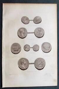 Original-1859-Scottish-Coin-Seal-Engravings-CLAUDIUS-HADRIAN-CARAUSIUS-PIUS