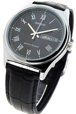 BRAND NEW Casio Men's Analog Quartz Black Dial Leather Watch MTPV006L-1B