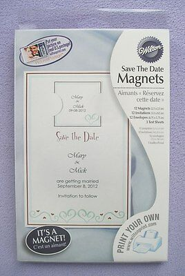 12 DIY Wilton Heart Hearts Blue Bridal Wedding Save The Date Magnets Magnet