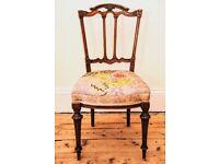 """Antique Victorian """"Tudor"""" Mahogany Chair"""
