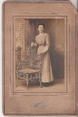 YOUNG LADY WITH ORNATE  WICKER  CHAIR, SOUTH SIDE PITTSBURGH, VINTAGE PRINT