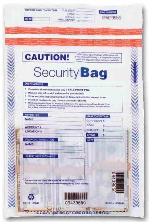 Qty 100 Tamper Evident Plastic Bank Deposit Bags 53849 1 Pocket 9 x 12