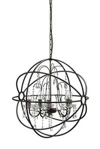 Round Metal Sphere Restoration Chandelier Hardware Orb Light Fixture Crystal