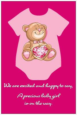 20 Romper Pink Heart TEDDY BEAR GIRL Baby Shower POSTCARDS Postcard INVITATIONS (Teddy Bear Baby Shower Invitations)