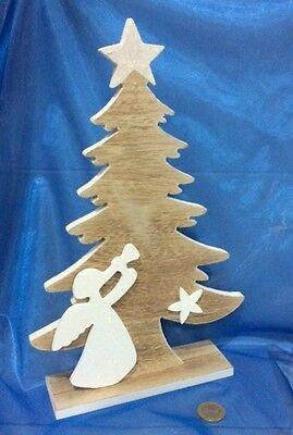 ALBERO DI NATALE sagoma legno con ANGELO Addobbo natalizio