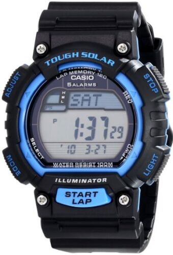 Casio Men's Solar-Powered Digital Watch Black/Blue Resin STLS100H-2AV