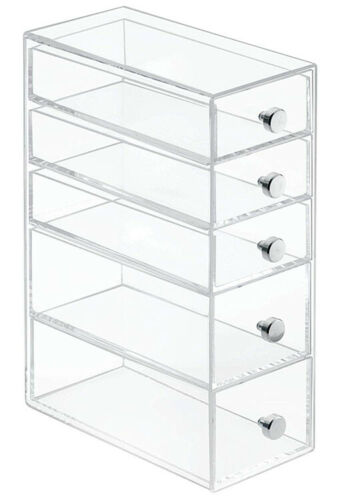 InterDesign 5 Drawers Plastic Vanity Narrow Cosmetics Organi