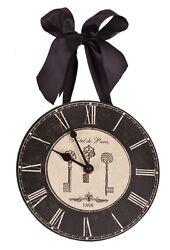Hotel de Paris 1898 French Keys Roman Numeral Wall Clock 8-in HH122 Boudoir