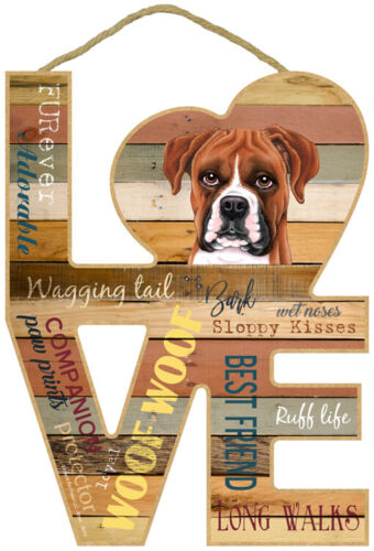 """Boxer Love Word Art Wood Cut Out 8""""x11"""" Cute Hanging Dog Sign Gift Home NEW L49"""