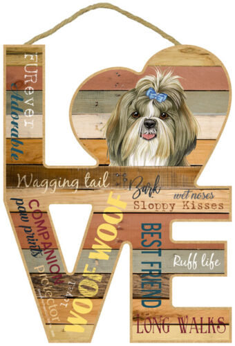 """Shih Tzu Love Word Art Wood Cut Out 8""""x11"""" NEW Hanging Dog Sign Gift Home L56"""