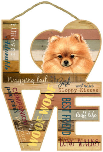 """Pomeranian Love Word Art Wood Cut Out 8""""x11"""" NEW Hanging Dog Sign Gift Home L53"""