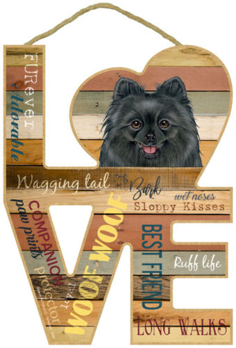 """Pomeranian Blk Love Word Art Wood Cut Out 8""""x11"""" Hanging Dog Sign Gift Home L61"""