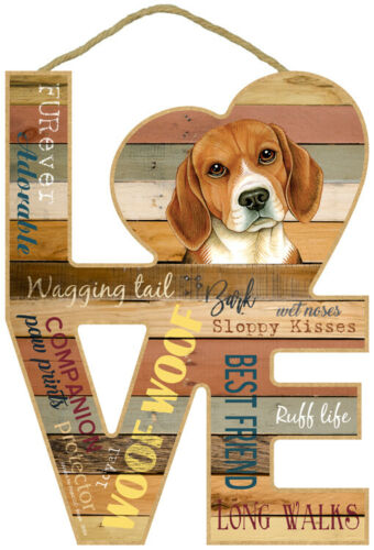 Beagle Dog Wood Decorative Hanging Sign Love Puppy Animal Home House Gift NEW