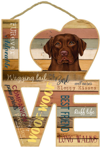 Chocolate Lab Dog Wood Decorative Hanging Sign Plaque Home Labrador Retriever
