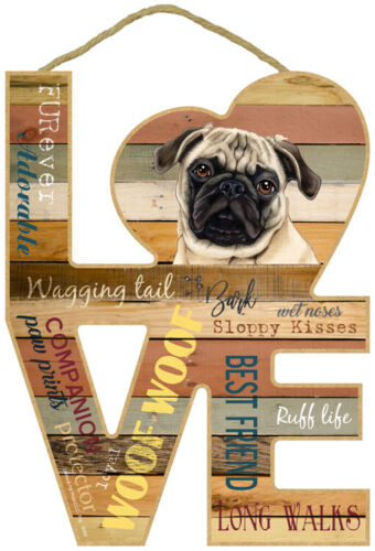 """Pug (Fawn) Love Word Art Wood Cut Out 8""""x11"""" Nice Hanging Dog Sign Gift Home L41"""
