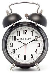 Crosley Twin Bell Quiet Sweep Vintage Metal Alarm Clock (Black) 33015
