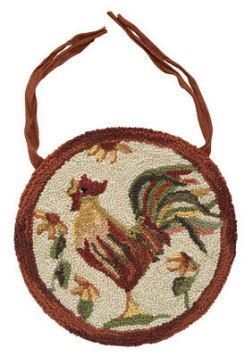 Hooked Rustic Rug - Primitive ROOSTER Hooked Rug Chair Pad Seat Cushion Farmhouse Country Rustic