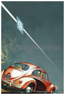 1958 Volkswagen Beetle (VW) at Night - Cool Vintage Poster