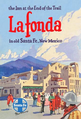Fred Harvey / Santa Fe Railroad - La Fonda Hotel, New Mexico Travel Poster