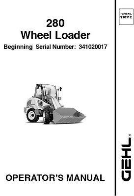 New Gehl 280 Wheel Loader Operators Owners Manual 918112 Bound Book Free Sh