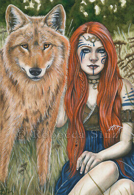 Fantasy Art PRINT Wolf Shaman Woman Red Hair Celtic Nature Animal Kindred - Animal Print Paper