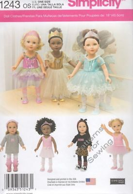 """Pattern Simplicity fits 18"""" in Doll Clothes Girl Dance Ice Skate Leotard Tights"""