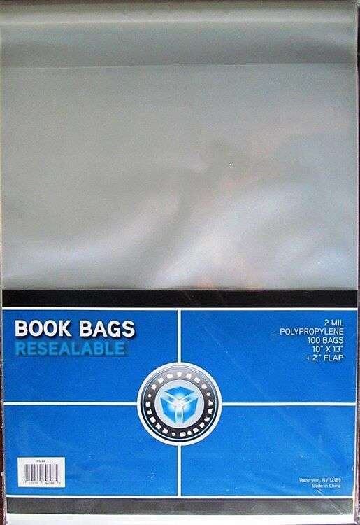 """100 CSP Book Resealable Bags/Sleeves 10 x 13 + 2"""" lip Polypro Archival Storage"""