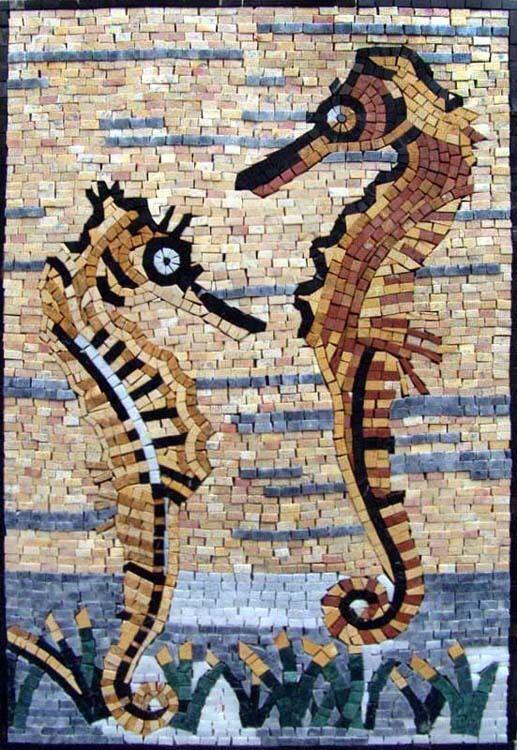 Seahorses Mosaic Mosaic Kitchen Mosaic Wall Art Marine Life&Nautical Tile