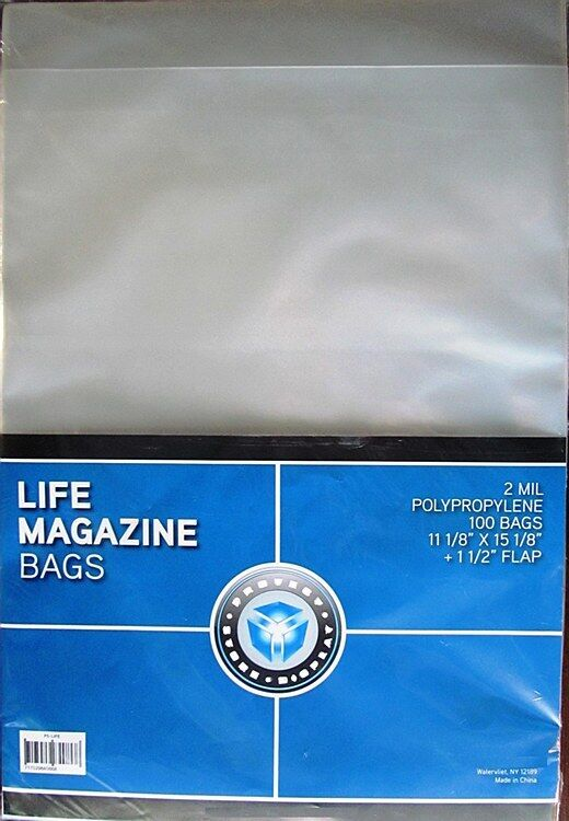 "(100) New! CSP Polypropylene Life Magazine Bags, PVC Free 11.125 x 15.125"""