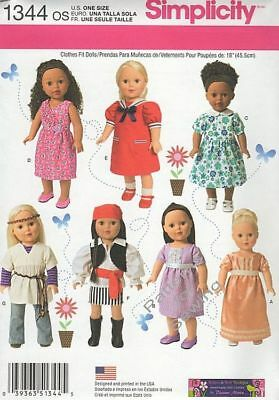 """Pattern Simplicity Sewing 18"""" in Doll Clothes Summer 2014 Dress Top Shawl Shirt"""