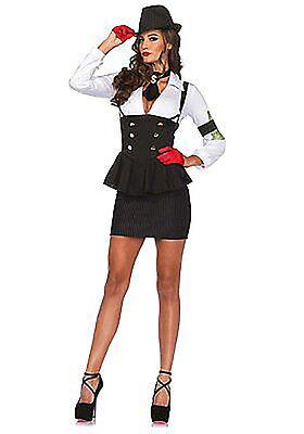 1950s Gangster Halloween Costumes (Machine Gun Molly Women's Halloween Costume Size Medium Gangster Mafia NEW)