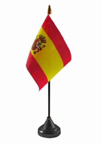 "SPAIN WITH CREST TABLE FLAG desktop flags 6"" x 4"" with pole SPANISH ESPANOL"