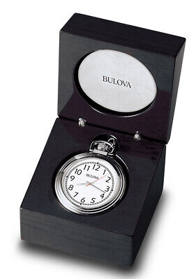 Bulova ASHTON II Silver Tone Pocket Watch with Tabletop Presentation Box B2663