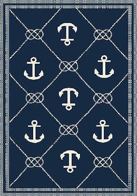 "8x10 (7'10"" x 9'10"") Nautical Anchor Coastal Tropical Indoor Outdoor Area Rug"