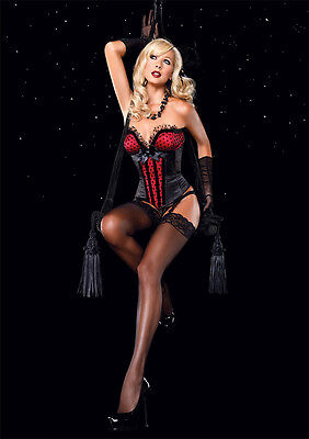 The Jesse Corset by Leg Avenue Satin Silhouette W/ Tulling, Deep-V Bustline.