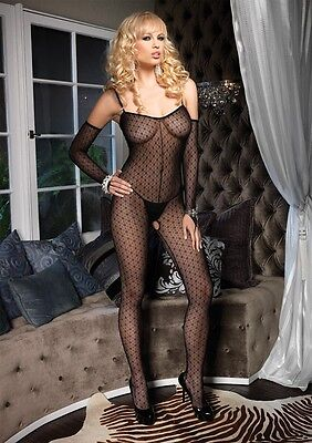 - Plus Size Mini Daisy Lace Bodystocking with Matching Fingerless Gloves LA-8254Q