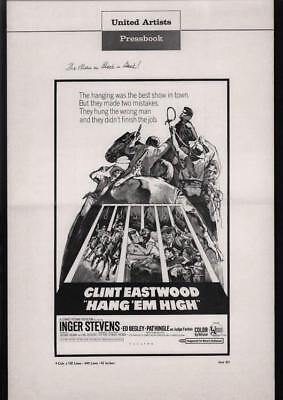 Hang 'em High-1968 Clint Eastwood Movie Pressbook w/ vintage ads & poster photos