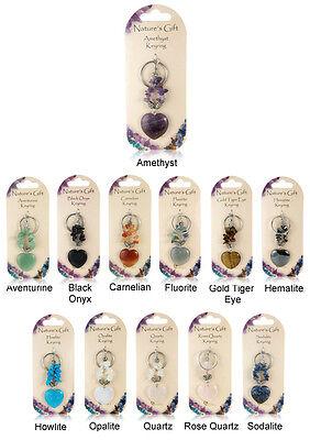 Natures Gift Heart Shaped Crystal Keyring Rose Quartz, Amethyst, Carnelian