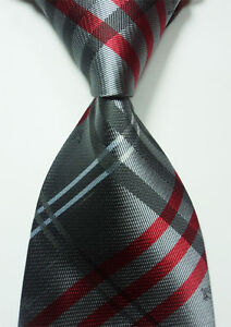 Classic Dark Gray Red 100% New Jacquard Woven Silk Men's Tie Necktie