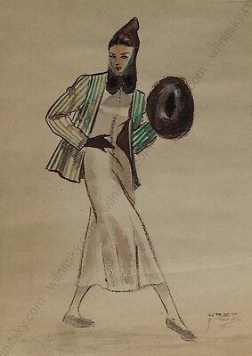 """Gret Kalous-Scheffer (1892-1975), """"Art Deco Fashion Design"""", Watercolor, 1930s"""