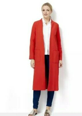 Tangerine Orange Helene Berman Edge To Edge Longline Throw On Coat,size 14 (60)