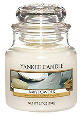 Yankee Scented Fragrance Candle Baby Powder Jar Small White Lasting 25-40 Hours