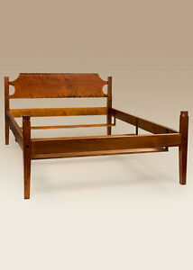 Shaker Bed Frame Cherry Wood Queen Size Low Post Bed