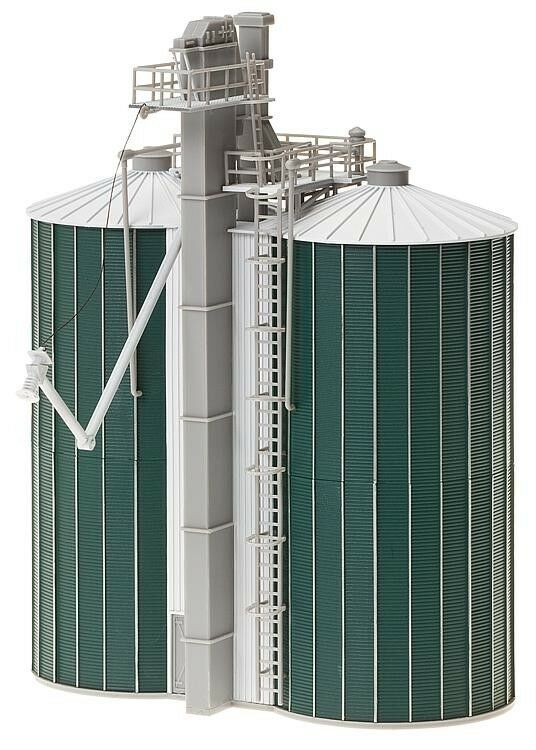 NEW ! HO scale Faller DOUBLE FARM SILOS with Elevator : Building KIT # 120260