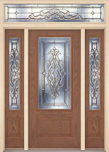 Fiberglass exterior sleek front entry door two sidelites for Exterior door brands