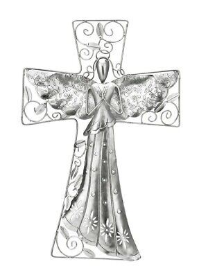 Hand Crafted Nickel Plated Metal Angel Large Wall Cross 16 Inches -