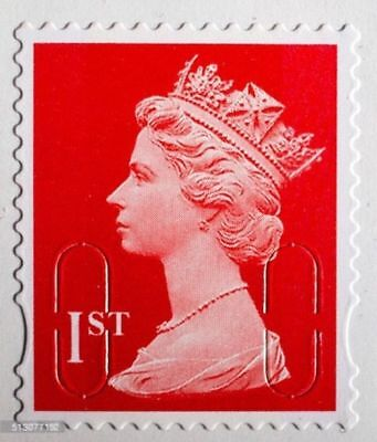 100 x 1st Class Unfranked Stamps, No Gum ,Off Paper